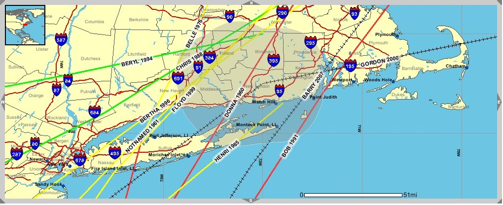 Hurricanes, Tropical Storms, & Tropical Depressions near New London County, CT since 1958