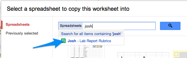 Searching for student lab report spreadsheets