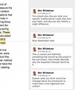 Comments on a Google Doc lab report.